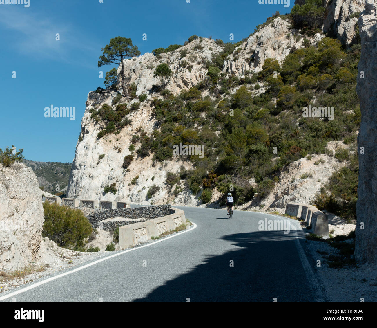 Winding its way up the mountain side, a female cyclist enjoys the cycle ride from the beautiful Goat's Path road (A-4050) through towering limestone c - Stock Image