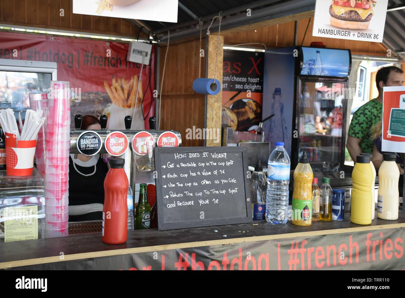 No single use plastic in this street cafe, Bairro Alto, Lisbon, Portugal, June 2019 - Stock Image