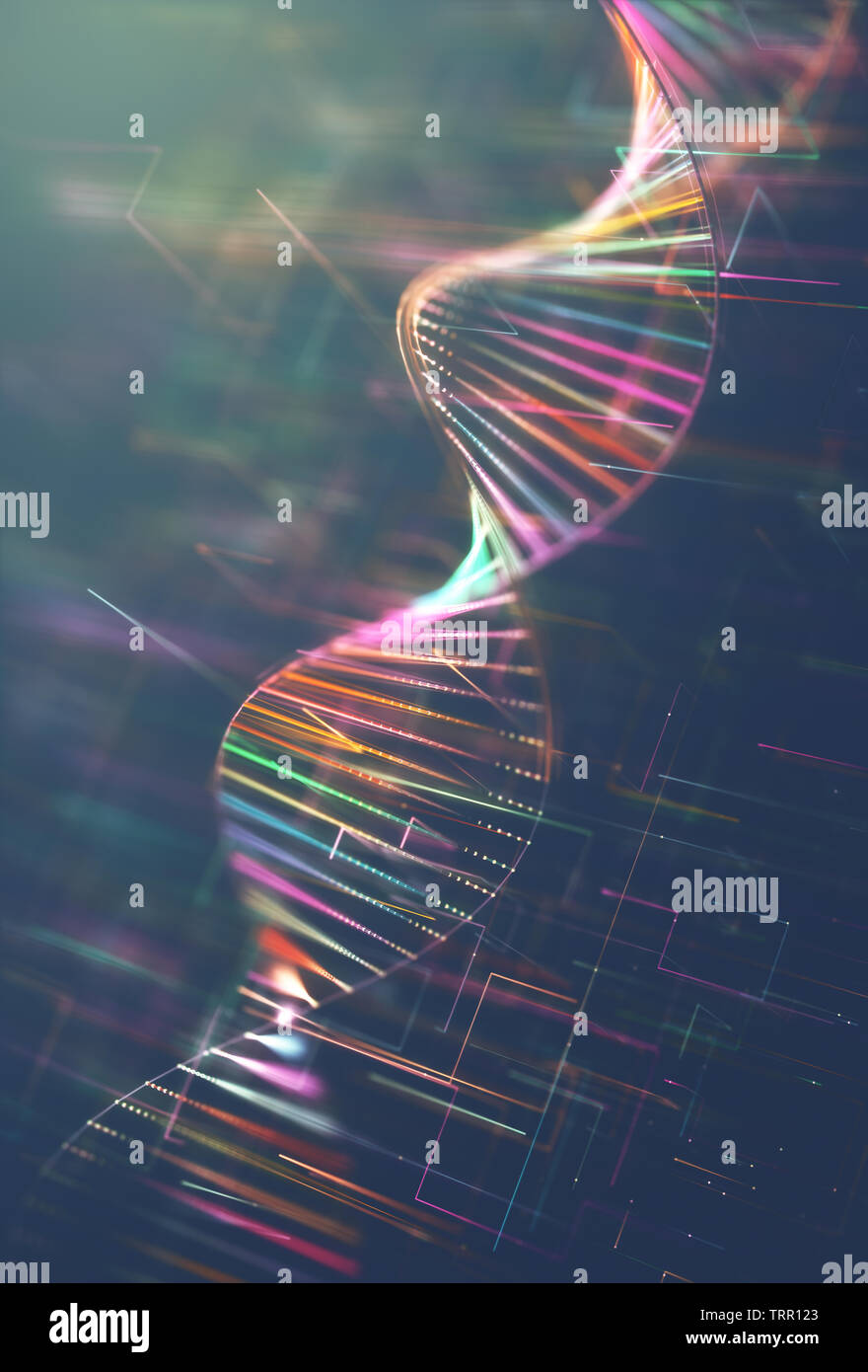 Image of genetic codes DNA. Concept image for use as background. Colored 3D illustration. - Stock Image