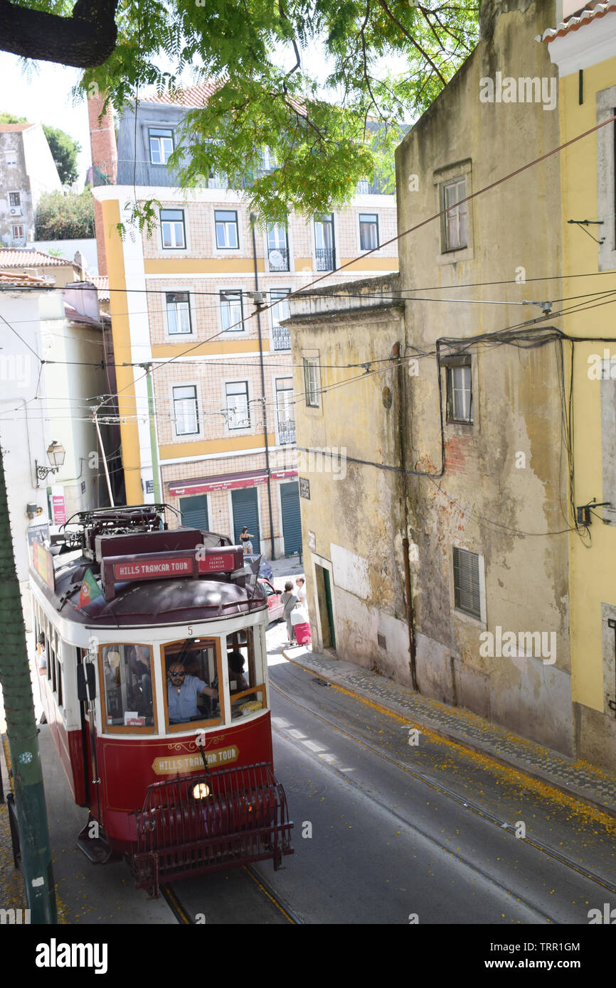 Tourist tram, Alfama, Lisbon, Portugal, June 2019 Stock Photo
