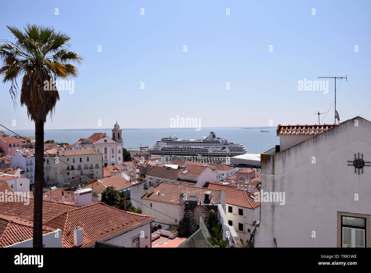 Vasco da Gama ship in the cruise terminal, Lisbon, Portugal, June 2019 - Stock Image
