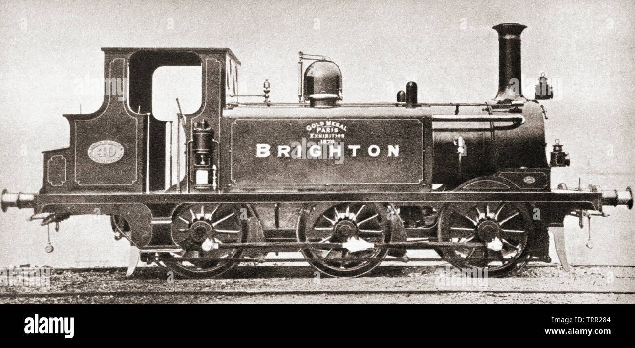 A railway engine from the London, Brighton and South Coast line.  From The Pageant of the Century, published 1934. - Stock Image