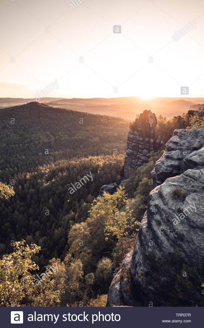 Morning mood at the Schrammsteinaussicht - Stock Image