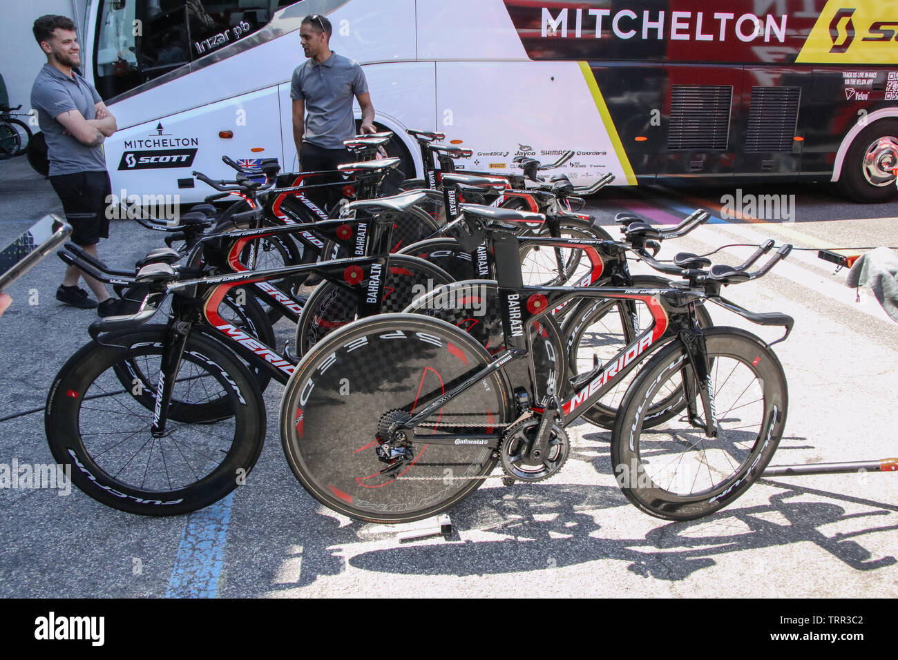 Merida Time Trial Bikes ready for Stage 21 of the Italian Giro d'Italia 2019 in Verona, Italy - Stock Image