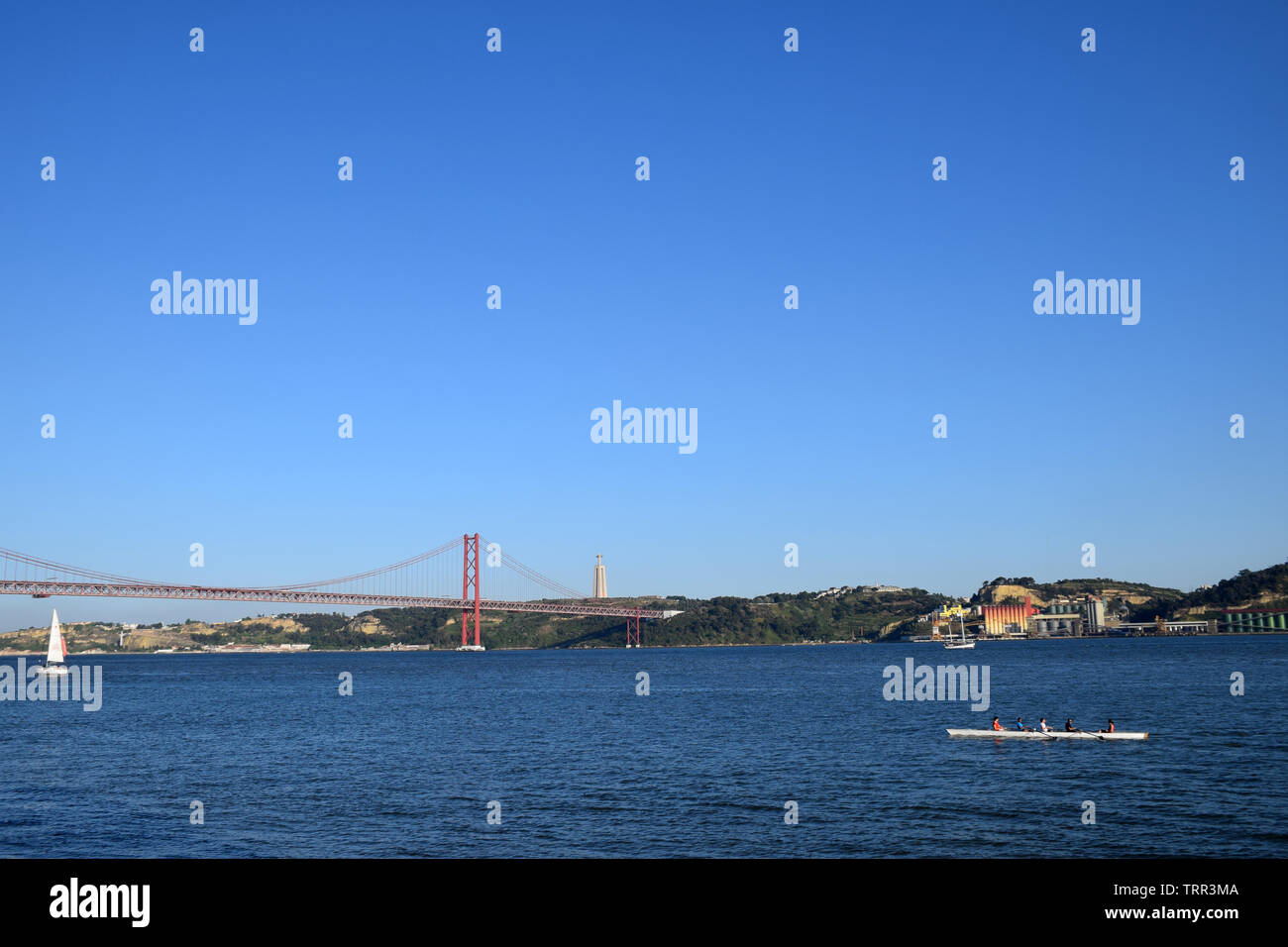 The Ponte 25 de Abril suspension bridge over Tagus River, Lisbon, Portugal, June 2019 Stock Photo