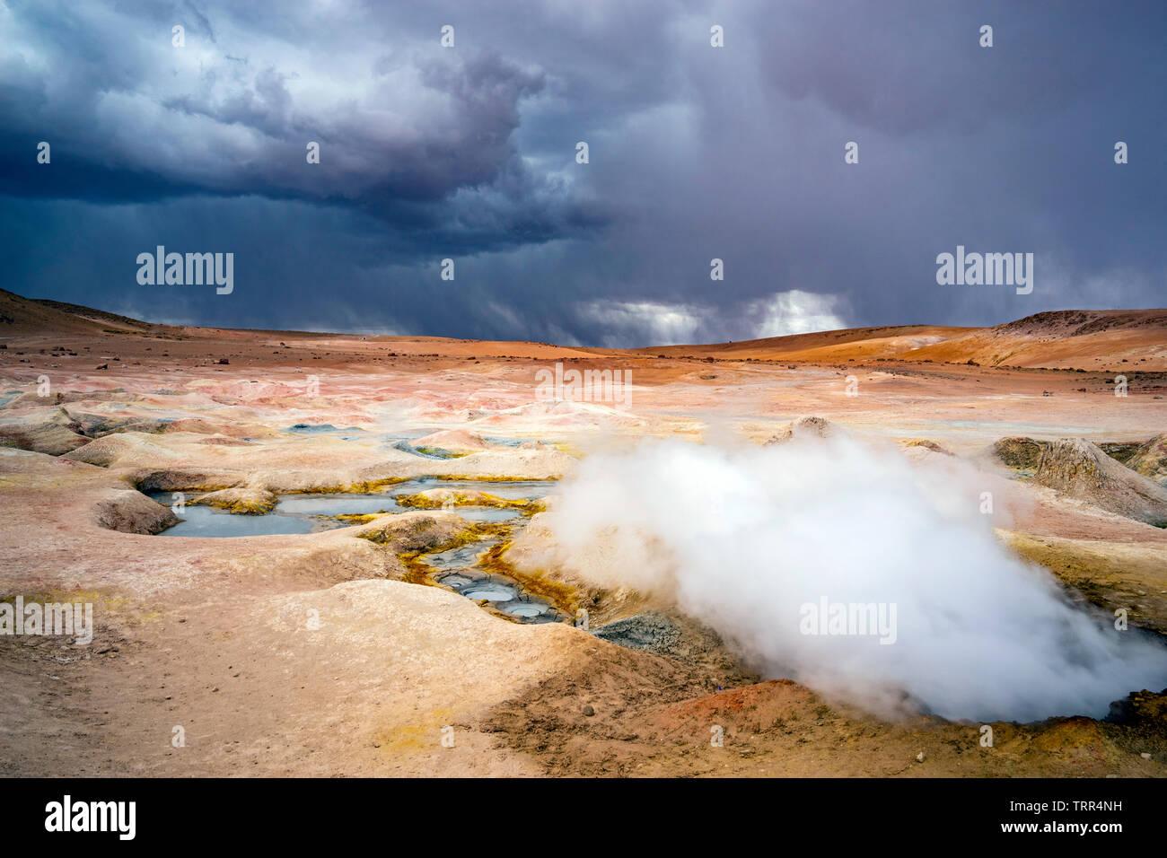 fumaroles of geysir Sol de Manana, potosi, bolivia - Stock Image