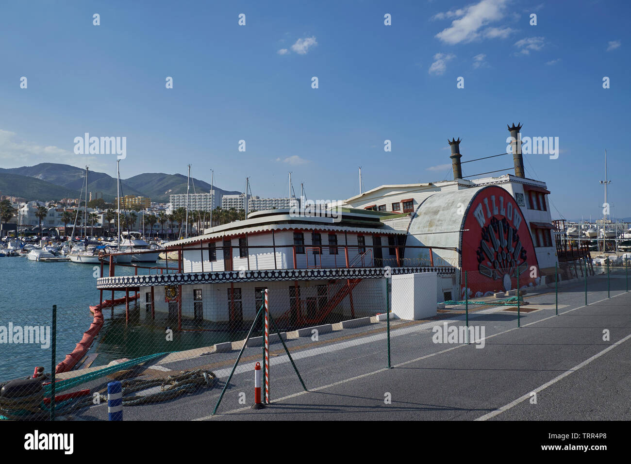 """The Mississippi Steam Boat """"Willow"""" half sunken, tied up at the Marina Benalmádena Puerto. Port. Andalusia, Spain. Stock Photo"""