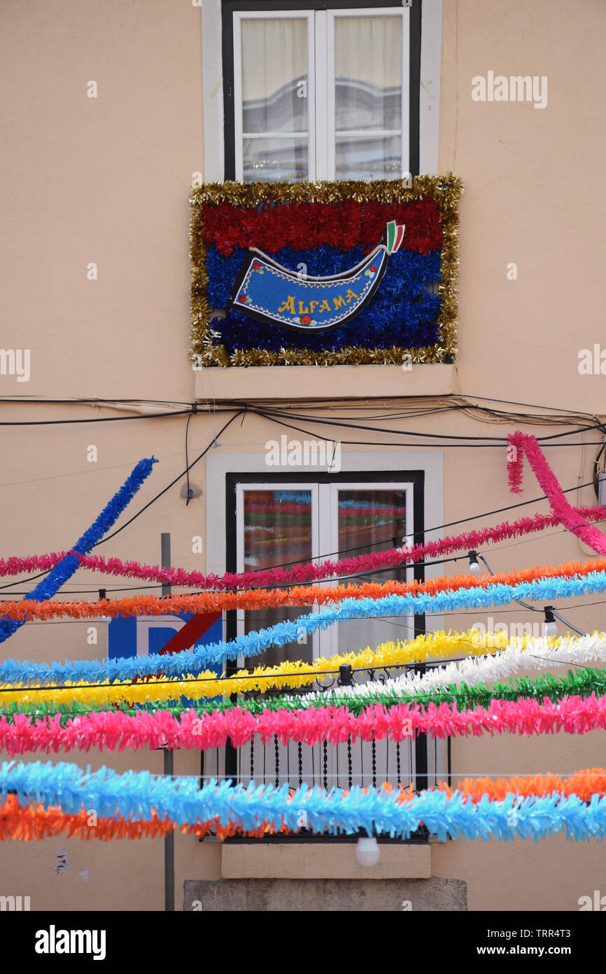 Alfama during the annual Feast of St Anthony aka Lisbon Sardine Festival, Lisbon, Portugal, June 2019 - Stock Image