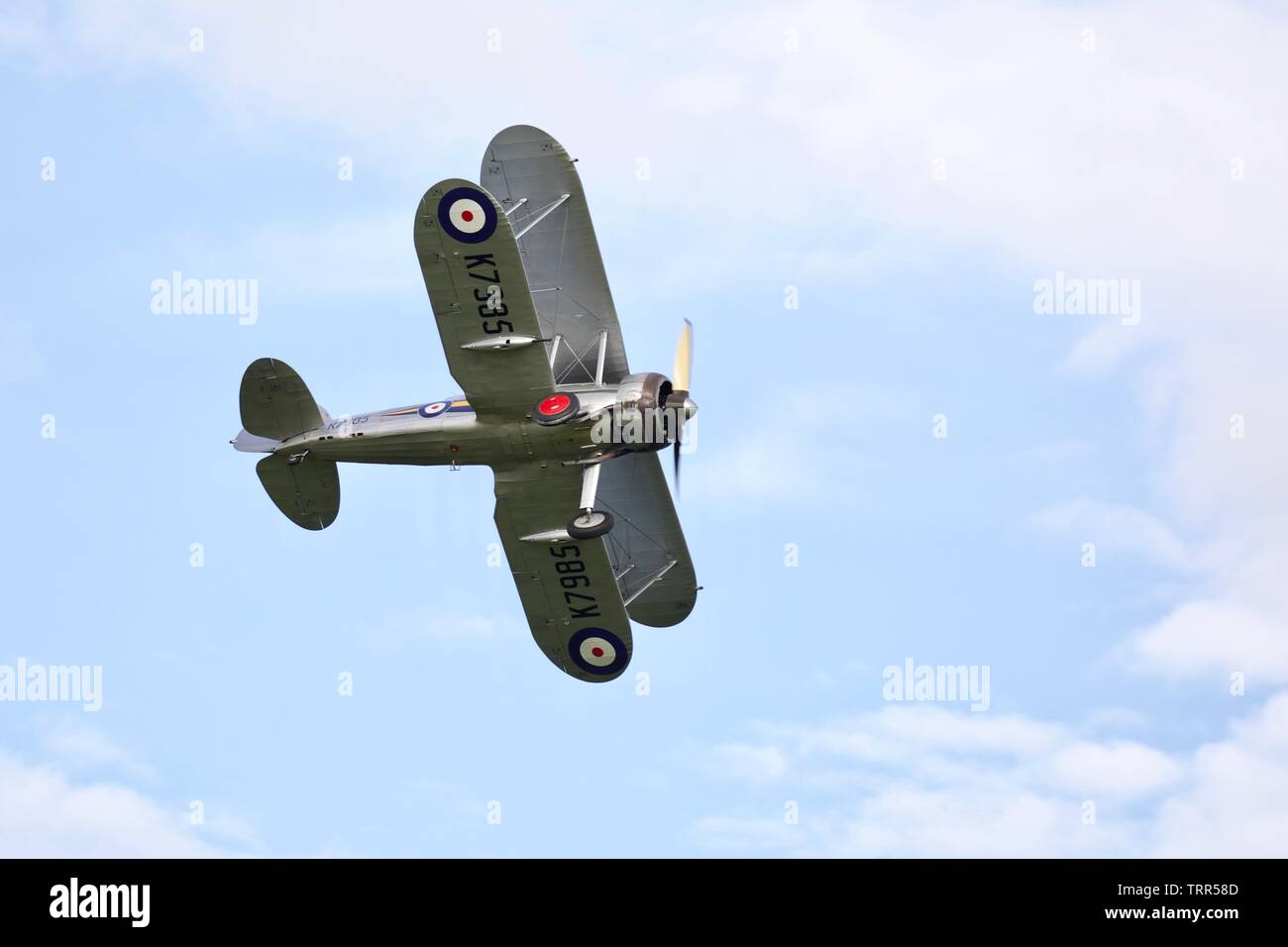 1938 Gloster Gladiator part of the Shuttleworth Collection performing at the 2019 Air Festival at Old Warden - Stock Image
