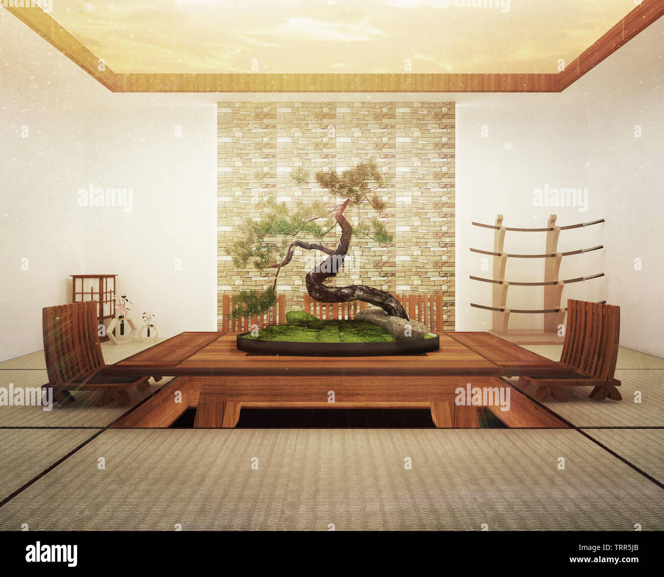Japanese interior design,modern living room with table and decoration. 3D rendering Stock Photo