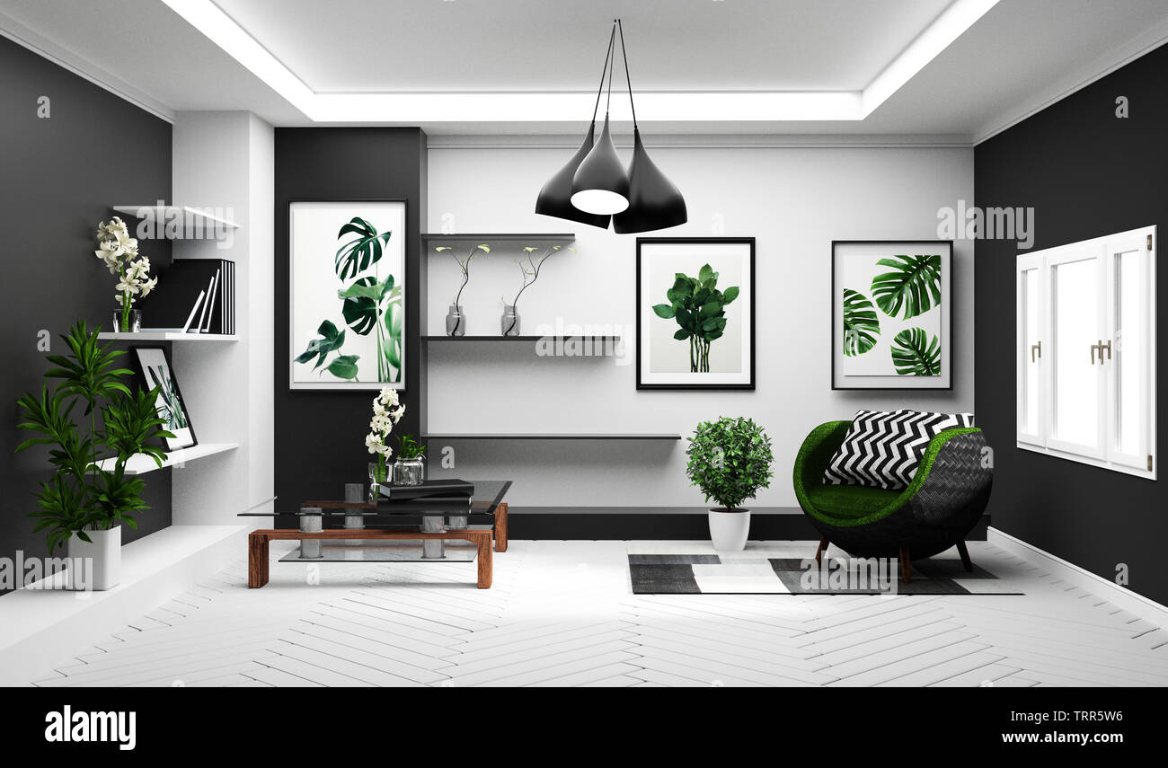 Modern Tropical living room interior with sofa and green ...