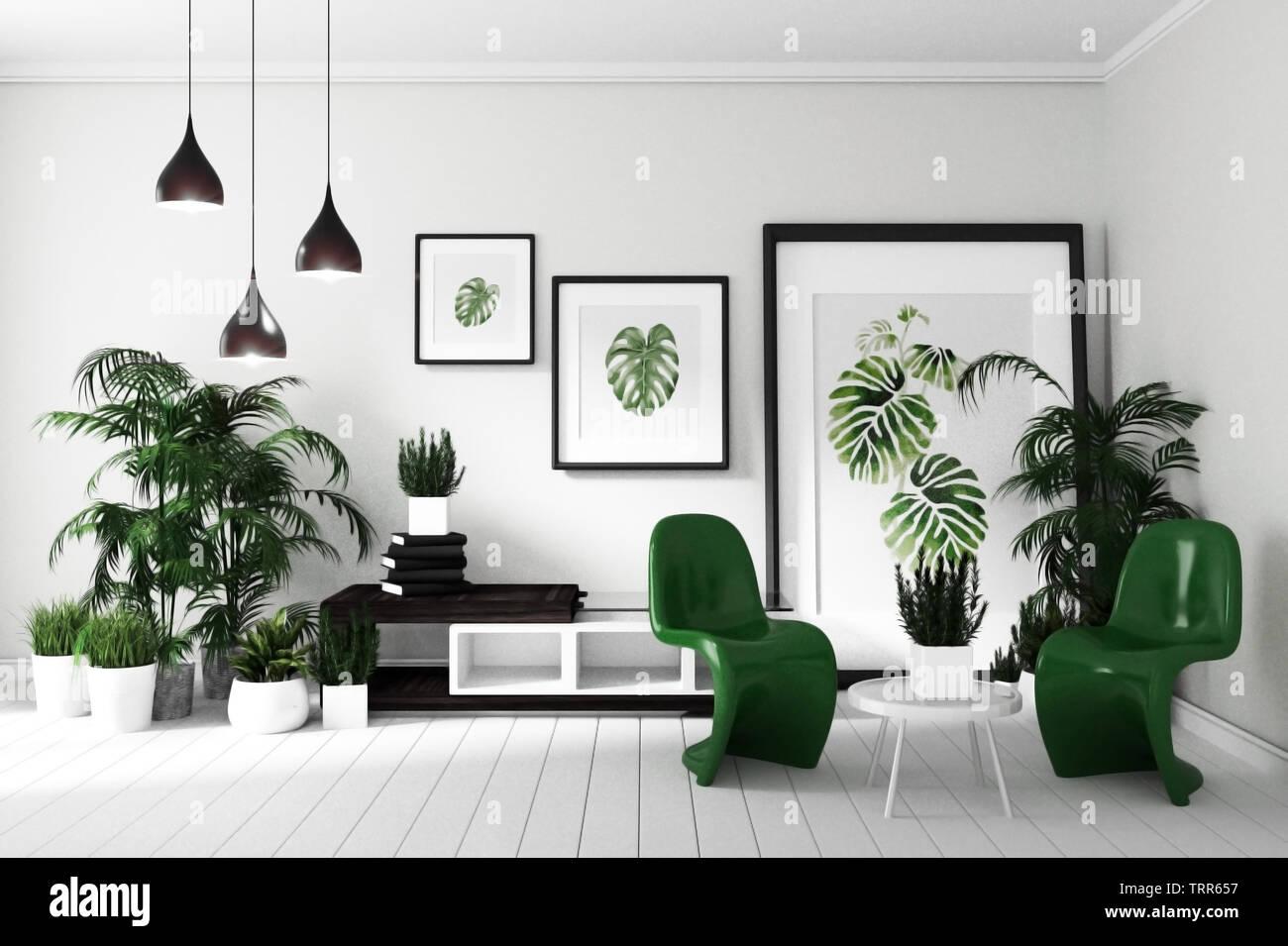 tropical modern living room interior. 9D rendering Stock Photo - Alamy