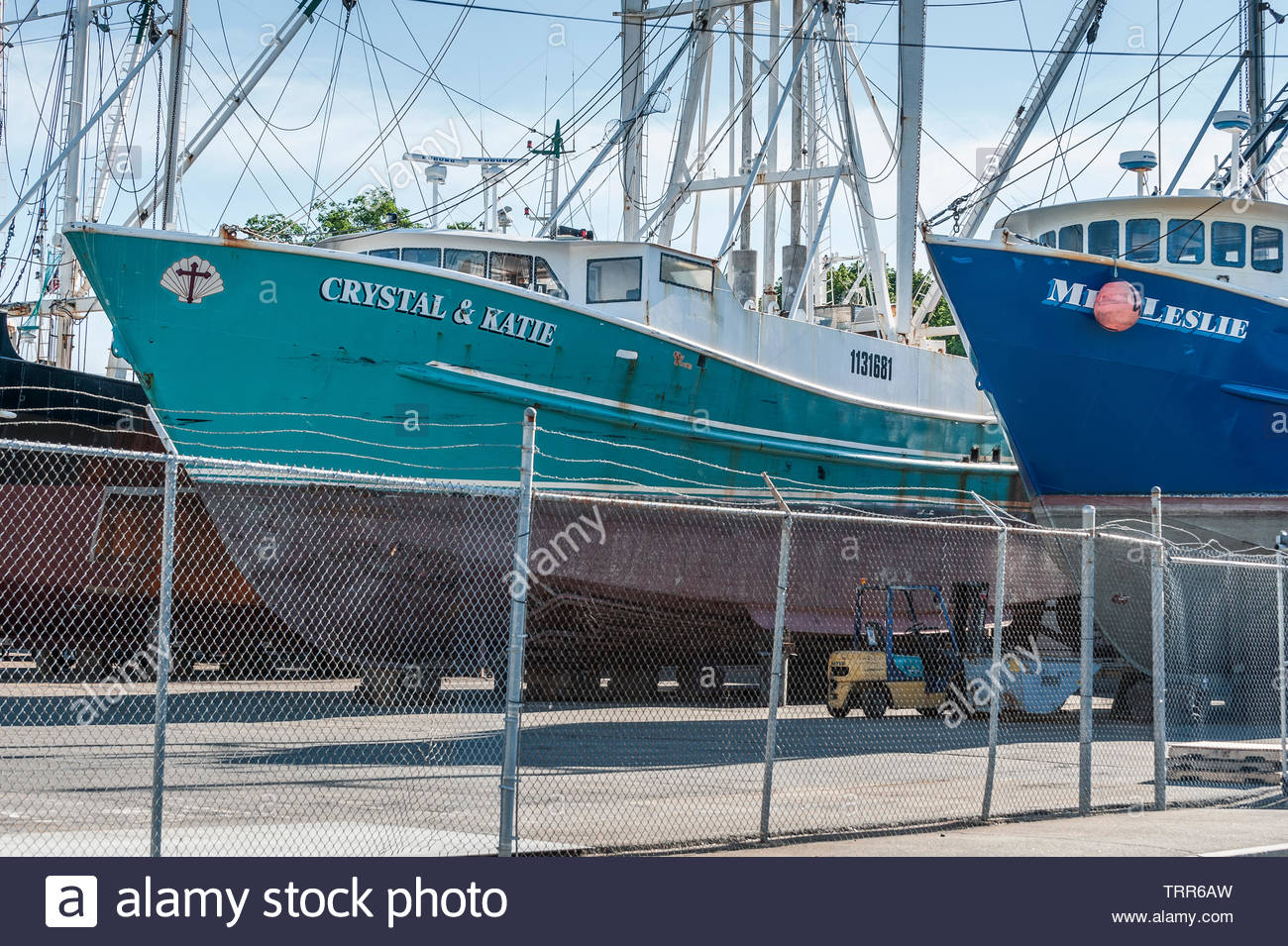 Fairhaven, Massachusetts, USA - June 9, 2019: Commercial fishing vessels Crystal & Katie and Miss Leslie hauled out at Fairhaven Shipyard - Stock Image