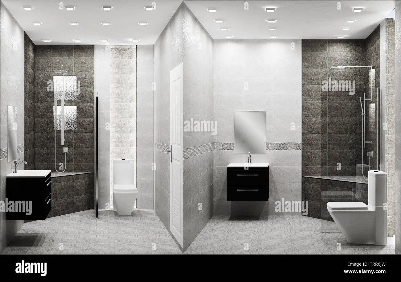 Toilet loft style tiles two tone interior design. 3D rendering - Stock Image
