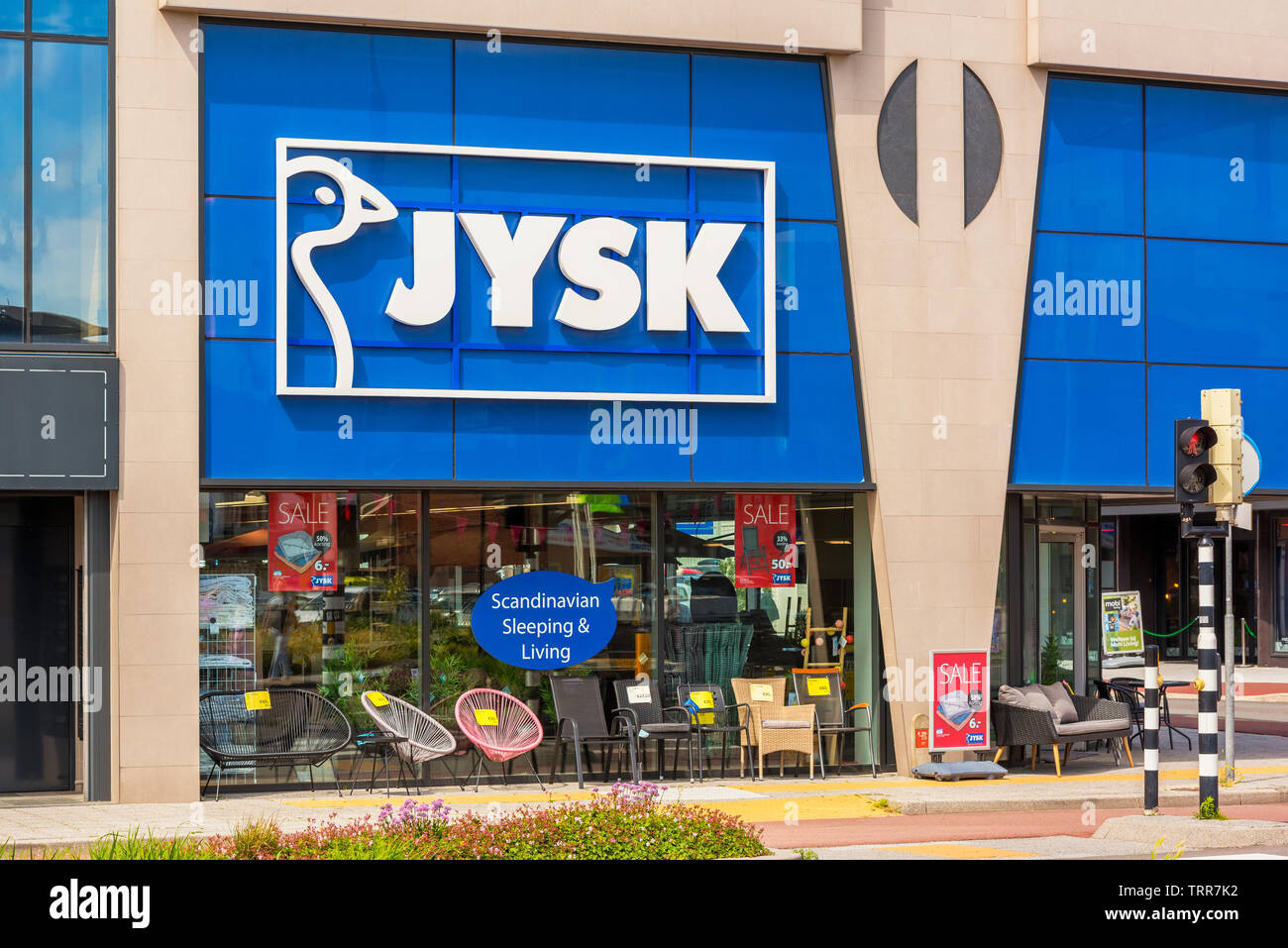 Jysk store in Alkmaar, Netherlands. Jysk is a Danish Home Furnishings retail chain, active in 50 countries. - Stock Image
