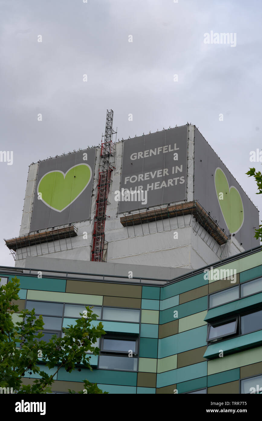 London, UK, 11th June 2019 Daytime. Grenfell Tower, Scene of the disastrous fatal fire on the week of the second anniversary. - Stock Image