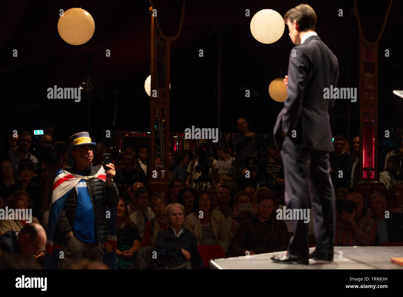 London, UK. 11th June, 2019. Steve Bray of protest group Sodem who are calling for Article 50 to be revoked asks a question. Rory Stewart MP formally launches his bid to become the new leader of the Conservative Party and Prime Minister of the United Kingdom. Credit: Claire Doherty/Alamy Live News Stock Photo