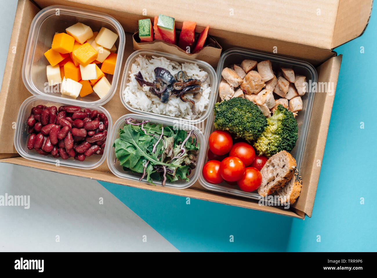 Healthy Food In Lunch Box Minimal Concept Of Eating At Workplace Balanced Nutrition Based On Macro Nutrients Protein Hydrates And Fats Home Food F Stock Photo Alamy