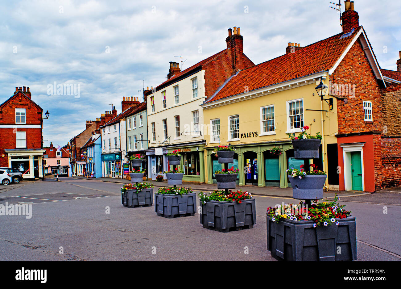 Delhi and shops, Malton, Food Capital of Yorkshire, North Yorkshire, England Stock Photo