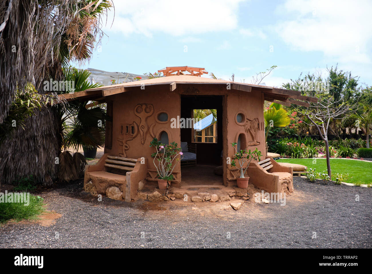 Traditional Cob House Or Casa De Barro Inside The Viveiro Botanical Gardens, Sal Island, Cape Verde, Africa - Stock Image