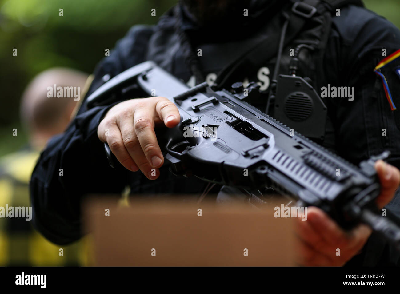 Bucharest, Romania - June 10, 2019: Details of a Romanian SIAS (the service for special action of the Romanian Police, equivalent of SWAT in the US) o - Stock Image
