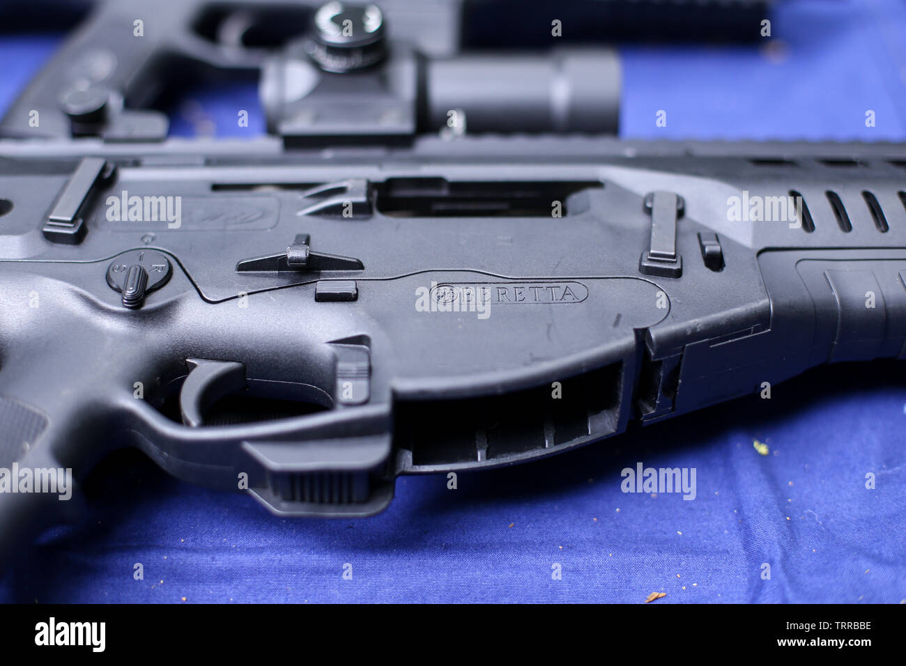 Bucharest, Romania - June 10, 2019: Details with the Beretta logo on a ARX 160 tactical rifle Stock Photo