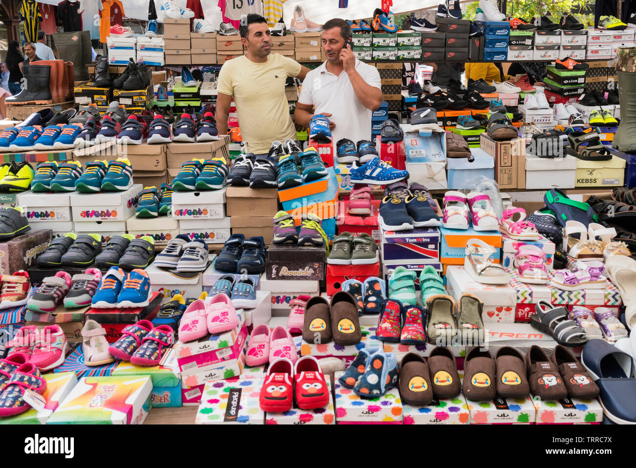 Shoe stall at the Saturday market, also known as Berivan Market, Selcuk, Turkey Stock Photo