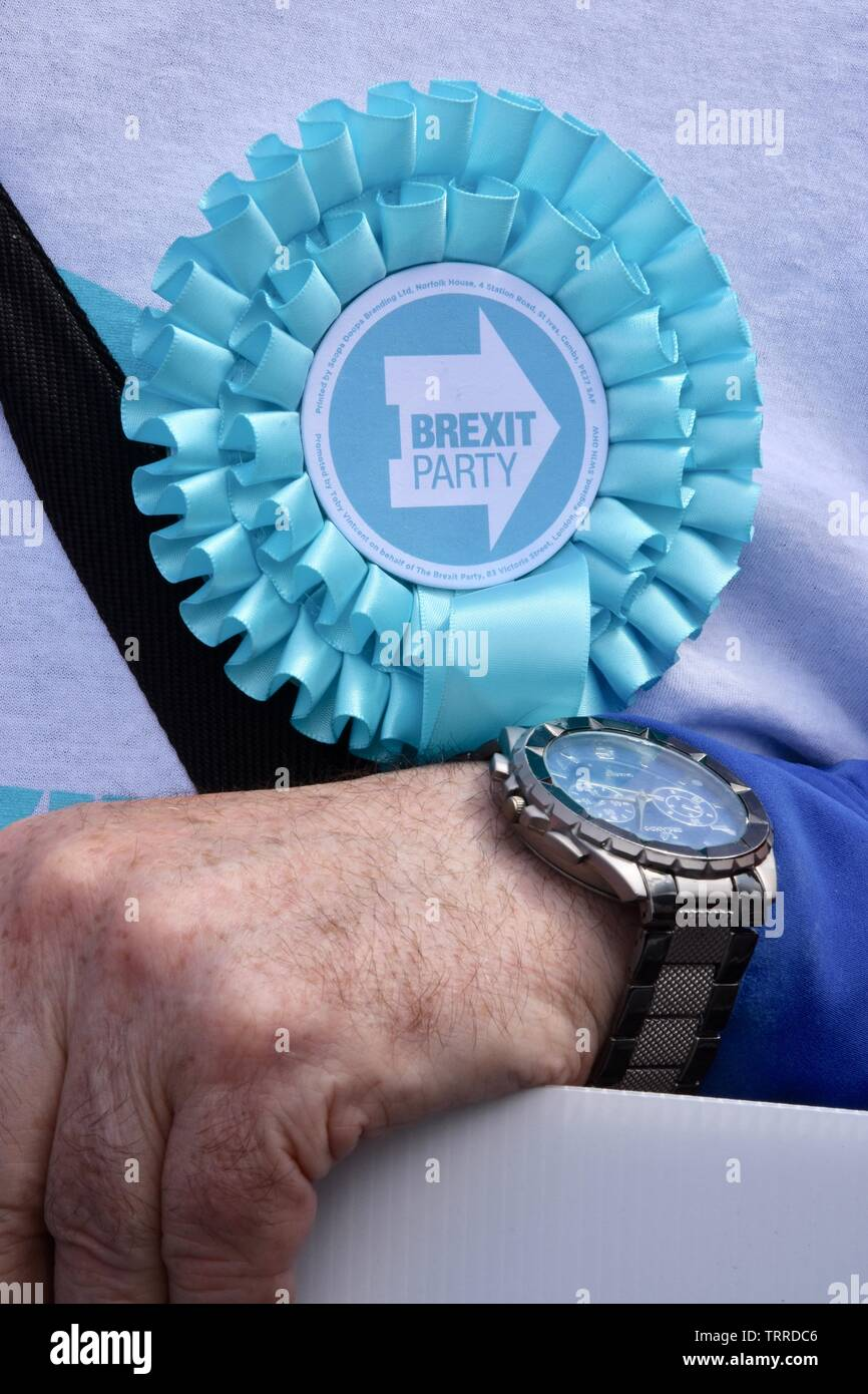 Brexit Party Rosette. Brexit Party, Westminster, London Stock Photo