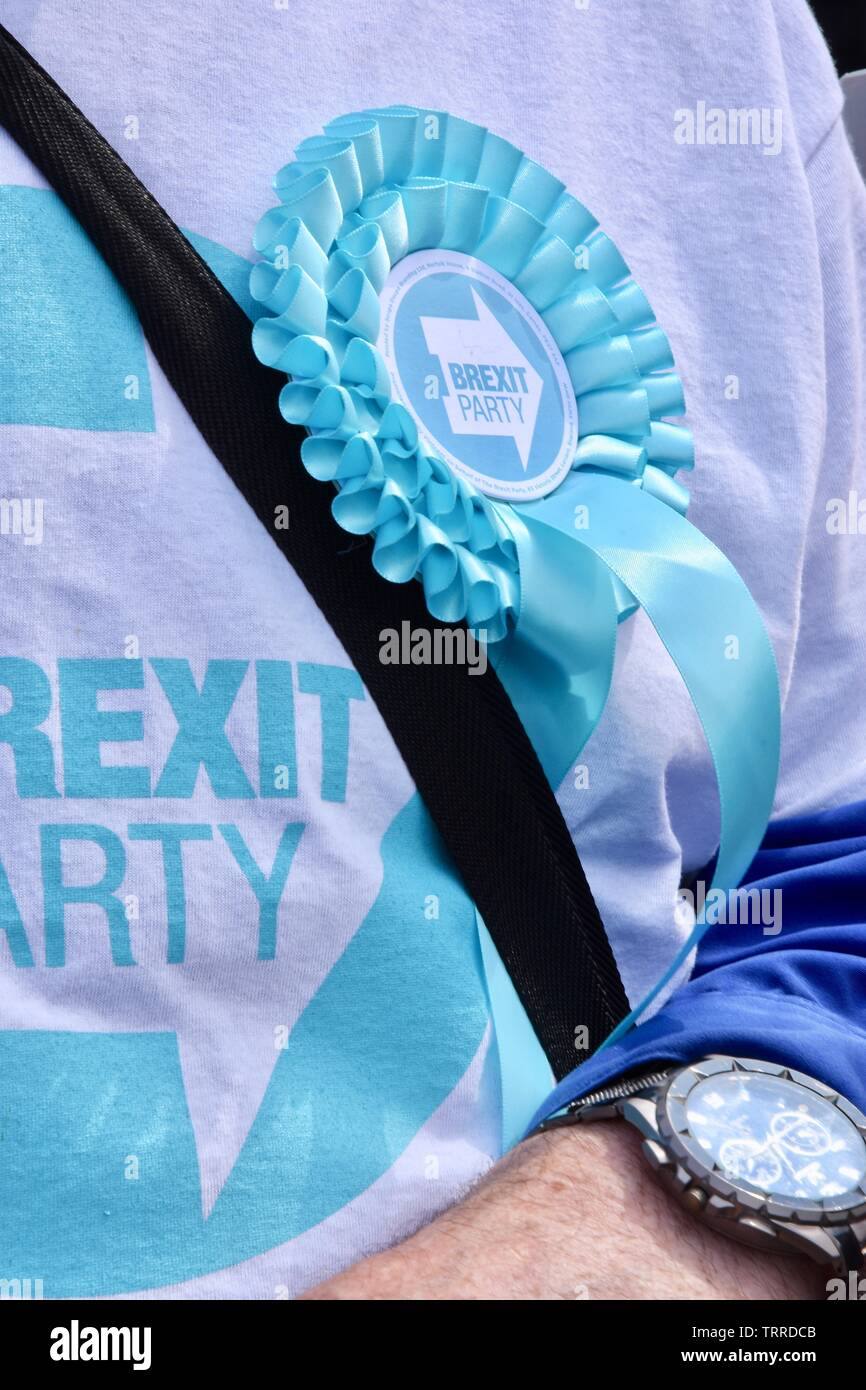 Brexit Party Rosette, Brexit Party, Westminster, London. Stock Photo
