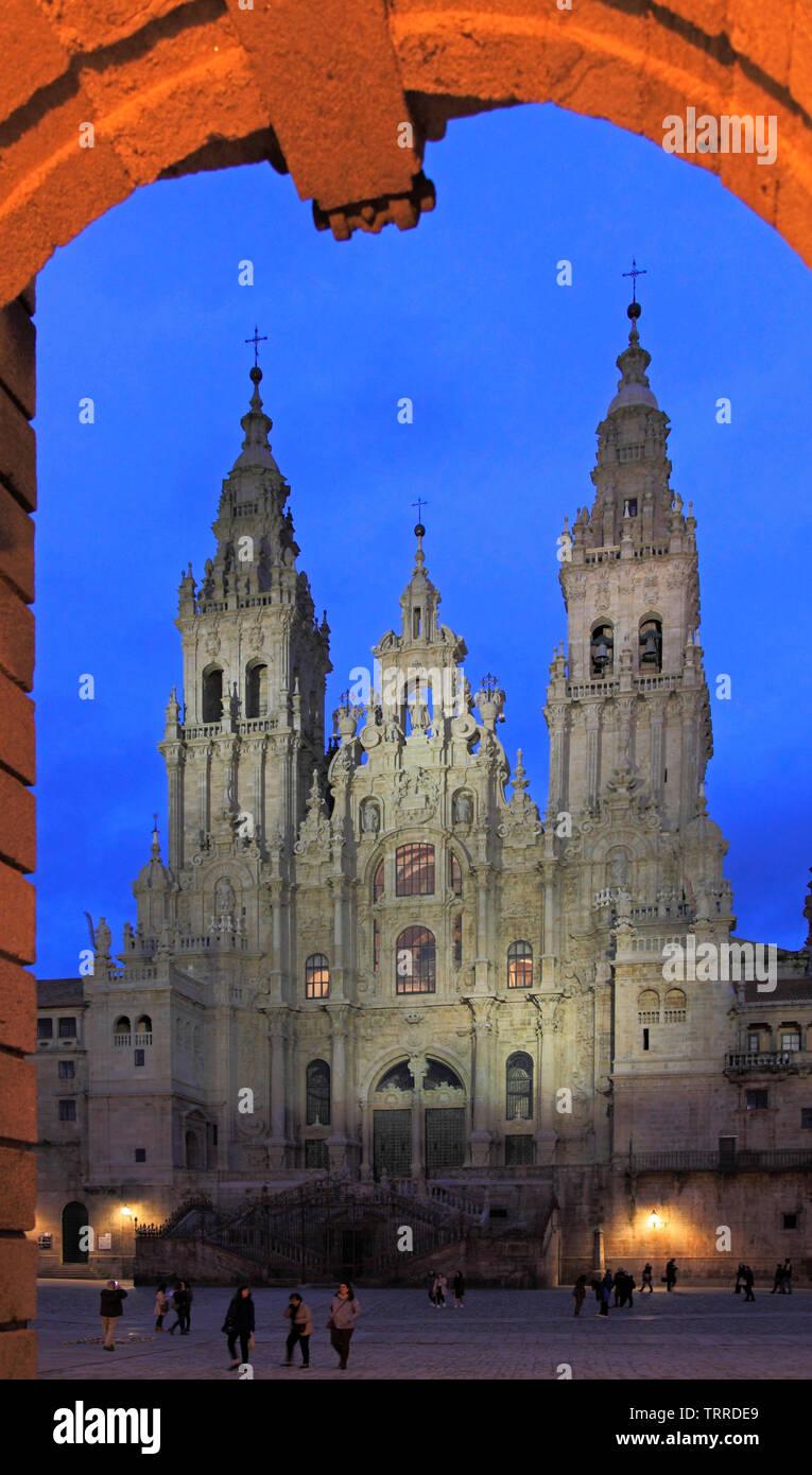 Spain, Galicia, Santiago de Compostela, Cathedral, Stock Photo