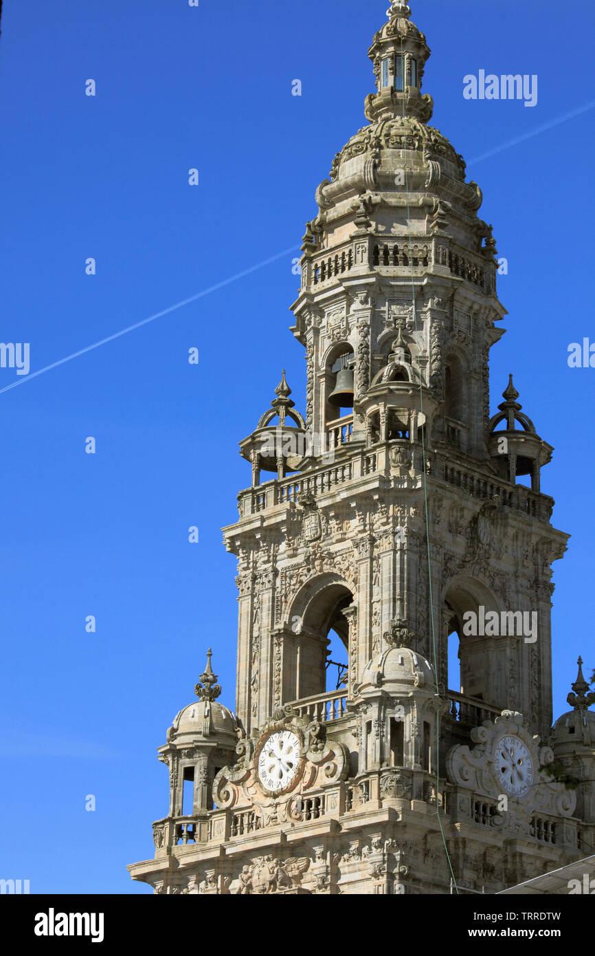 Spain, Galicia, Santiago de Compostela, Cathedral, Clock Tower, Stock Photo