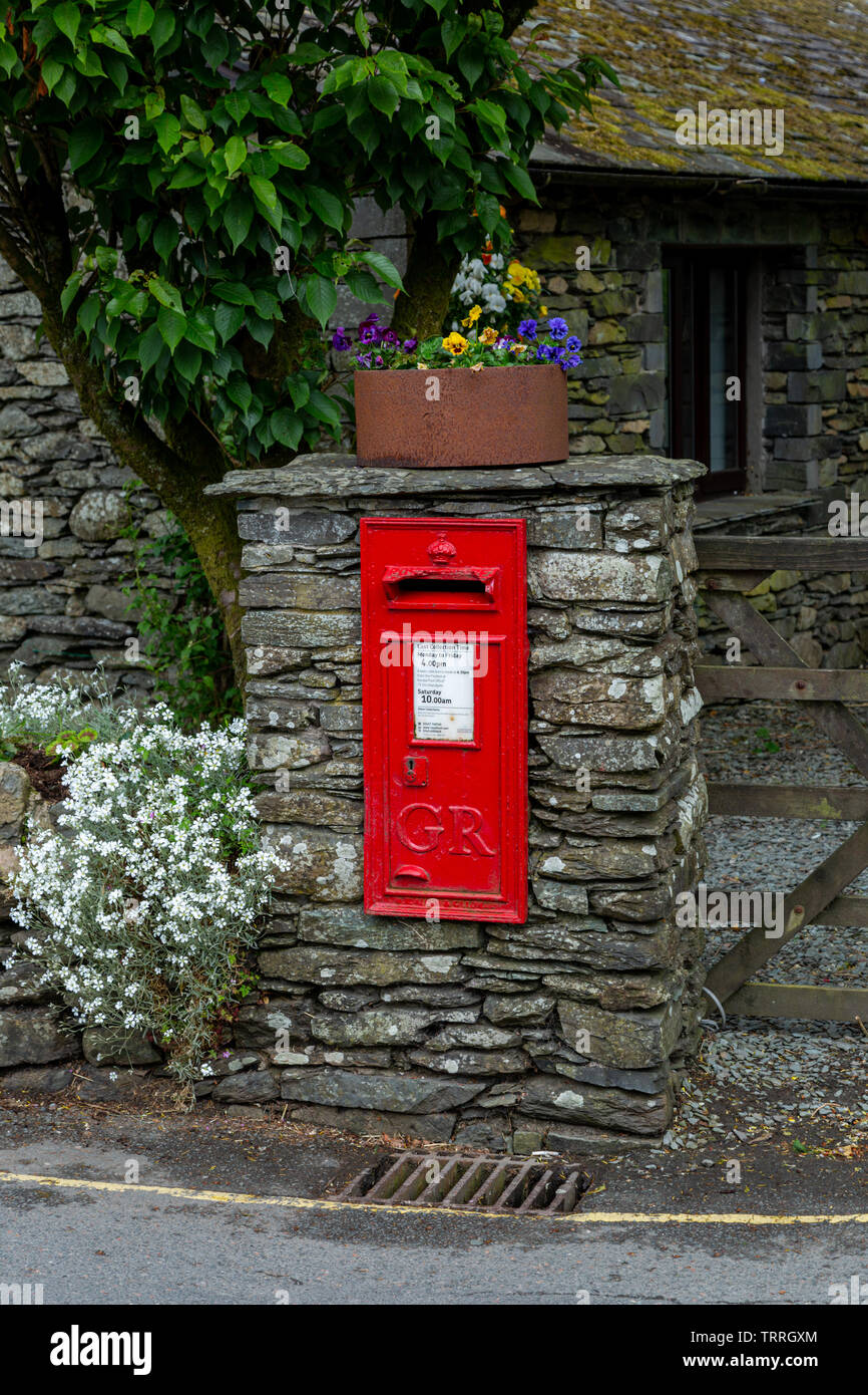 Royal Mail posting box, Sawrey, as used by Beatrix Potter in her books - Stock Image