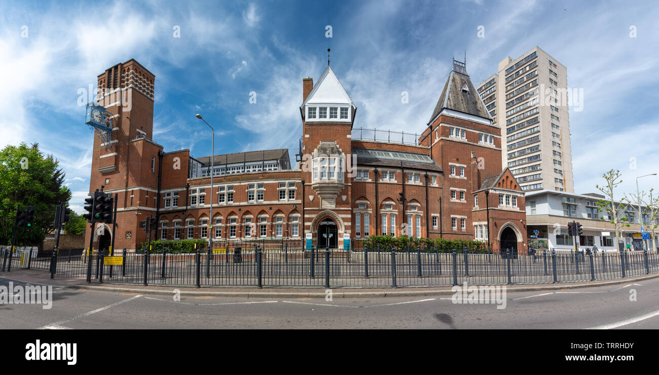 London, England, UK - June 1, 2019: Sun shines on the Tower Hamlets College campaus on East India Dock Road in Poplar. - Stock Image