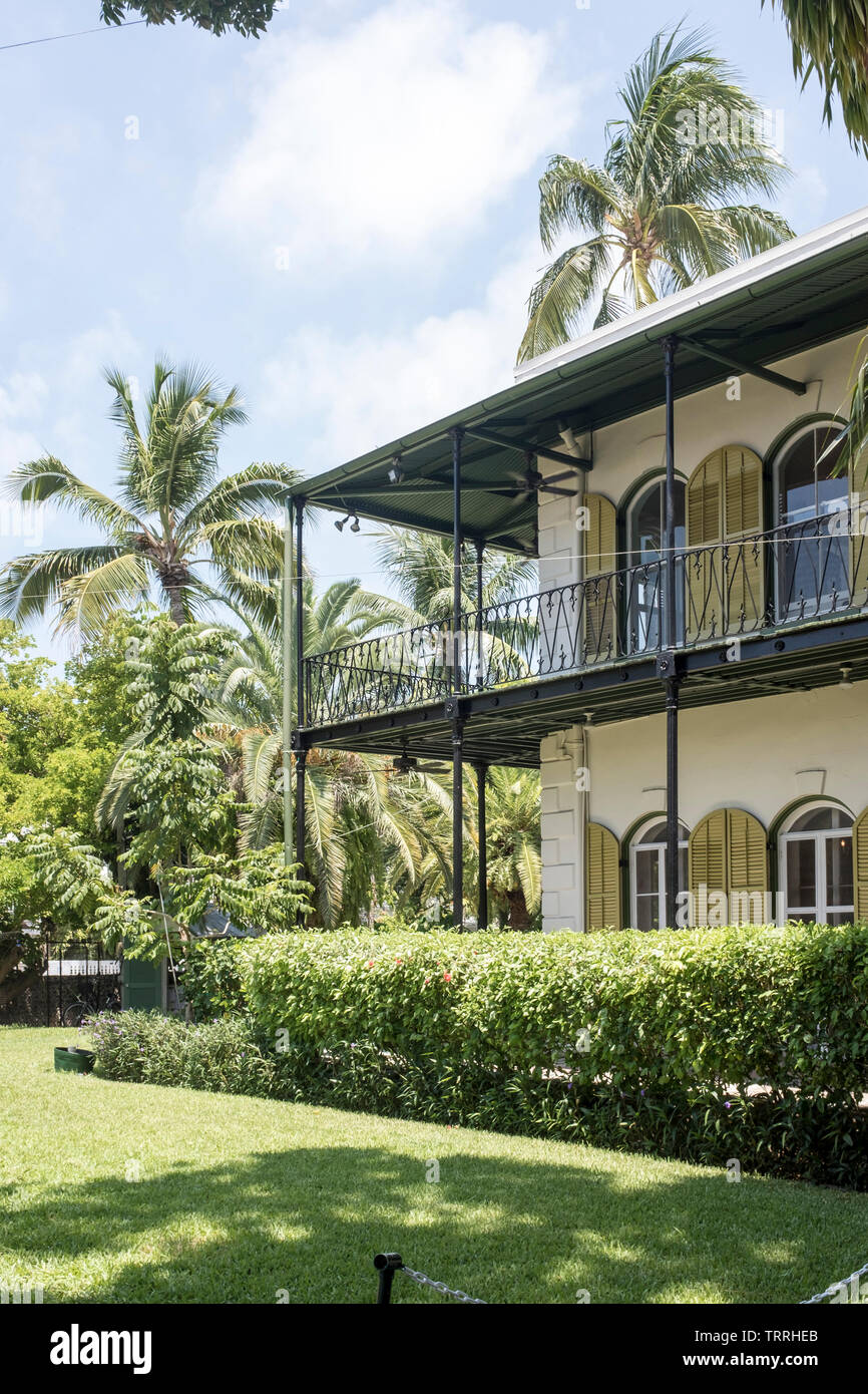 The exterior of the Ernest Hemingway House and Museum in Key West, Florida, USA Stock Photo