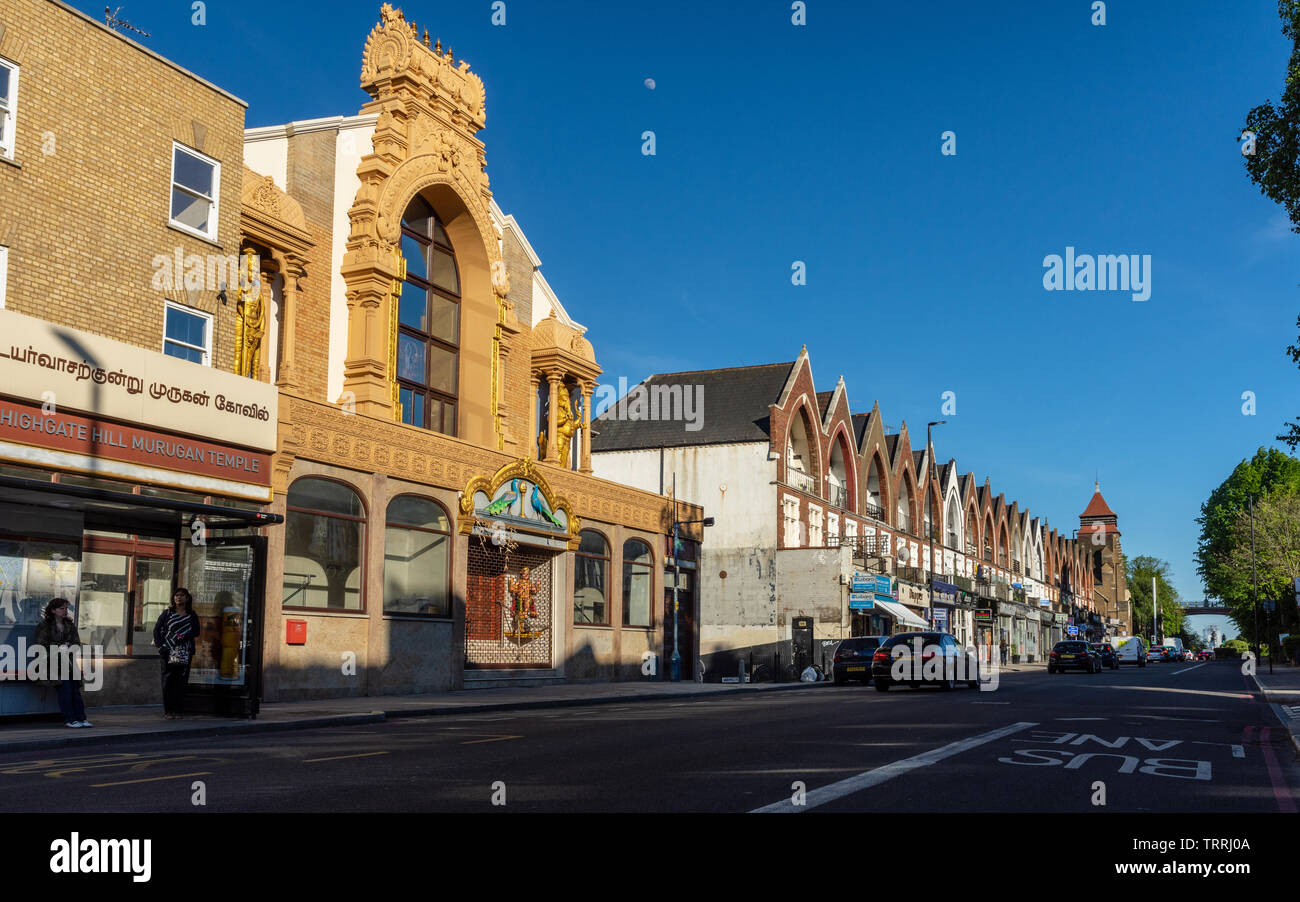 London, England, UK - May 14, 2019: Evening sun lights up the Murugan Hindu Temple in Highgate Hill in North London. Stock Photo