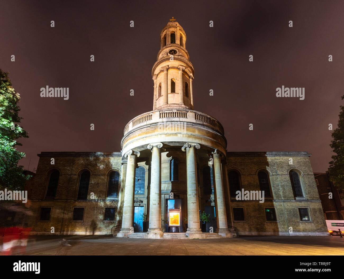London, England, UK - October 12, 2018: The tower and south face of St Mary's Church is lit at night in Bryanston Square in the Marylebone neighbourho - Stock Image