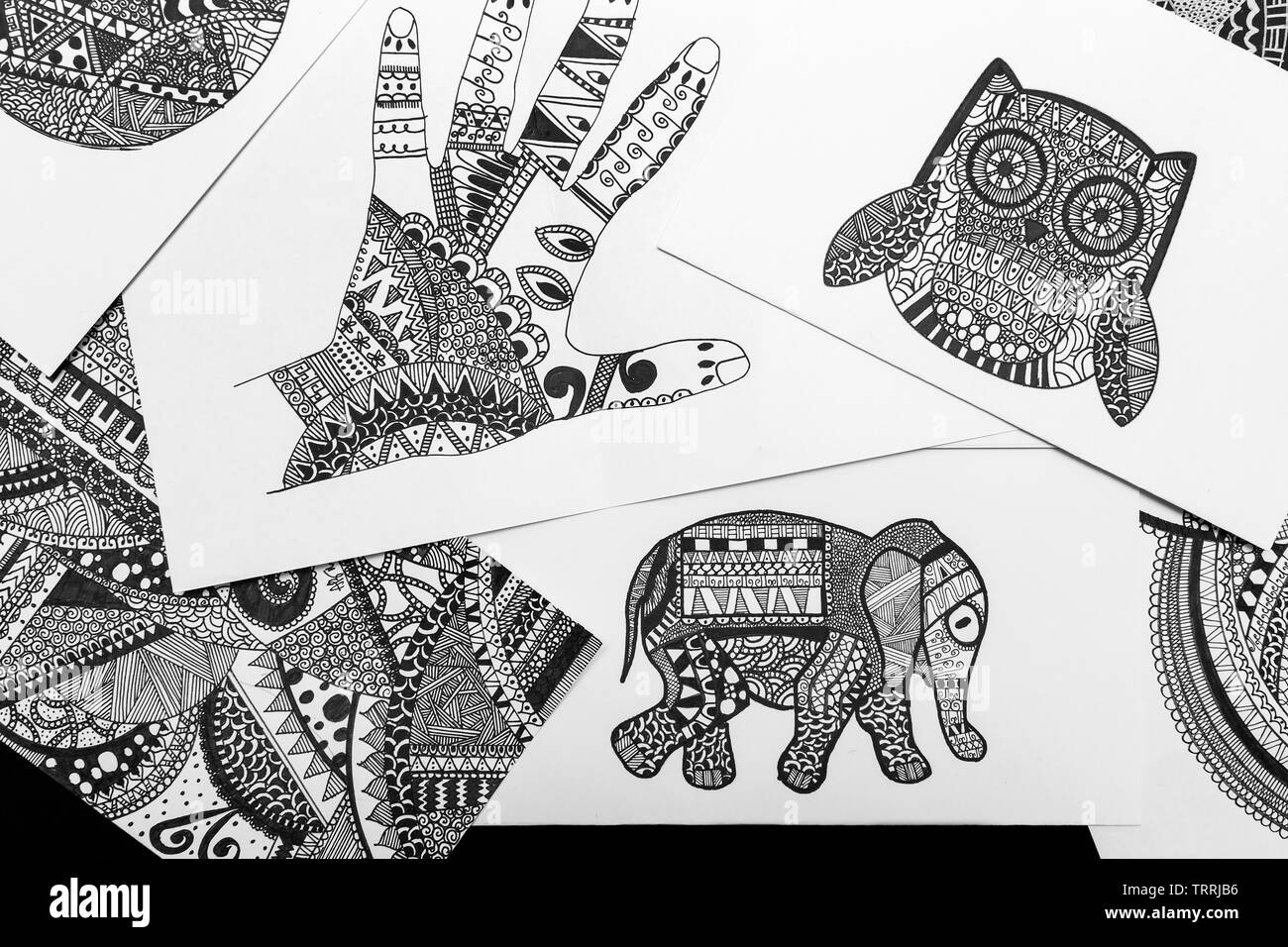 manila philippines august 18 2016 hand drawn black and white doodle sketches coloring mandala pages TRRJB6