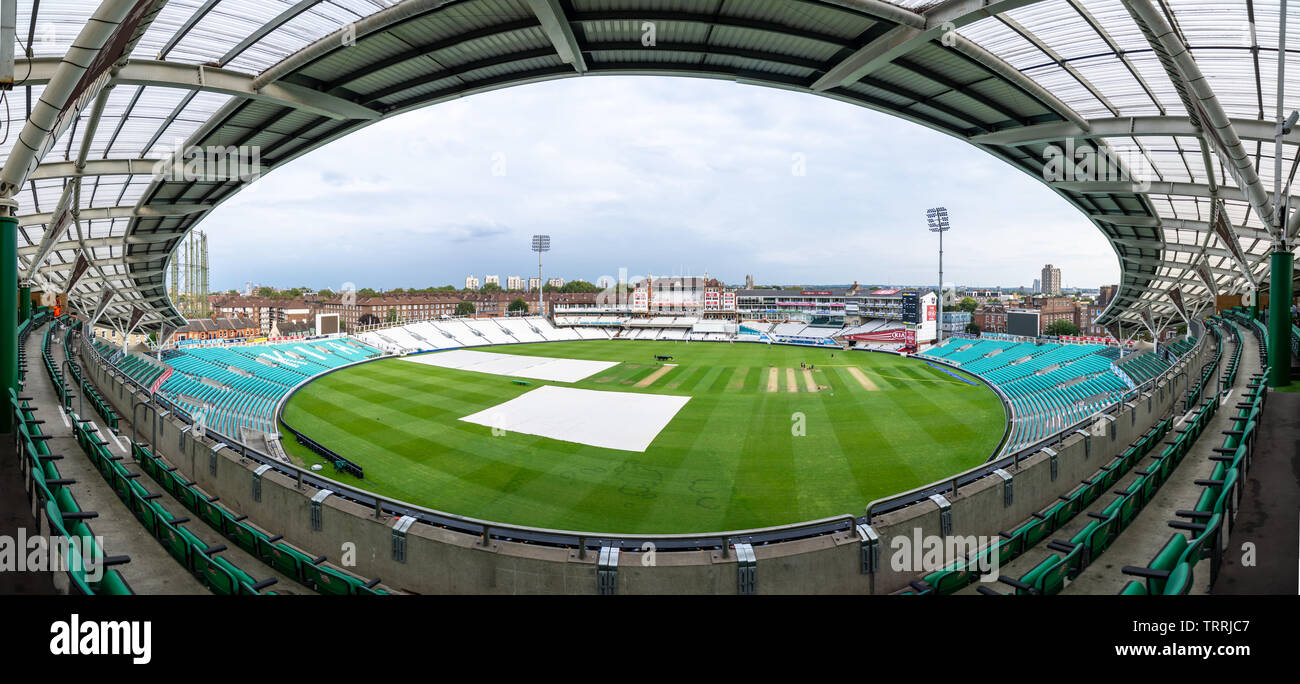 London, England, UK - September 5, 2018: A wide panoramic photo shows the scale of The Oval cricket ground in London. - Stock Image