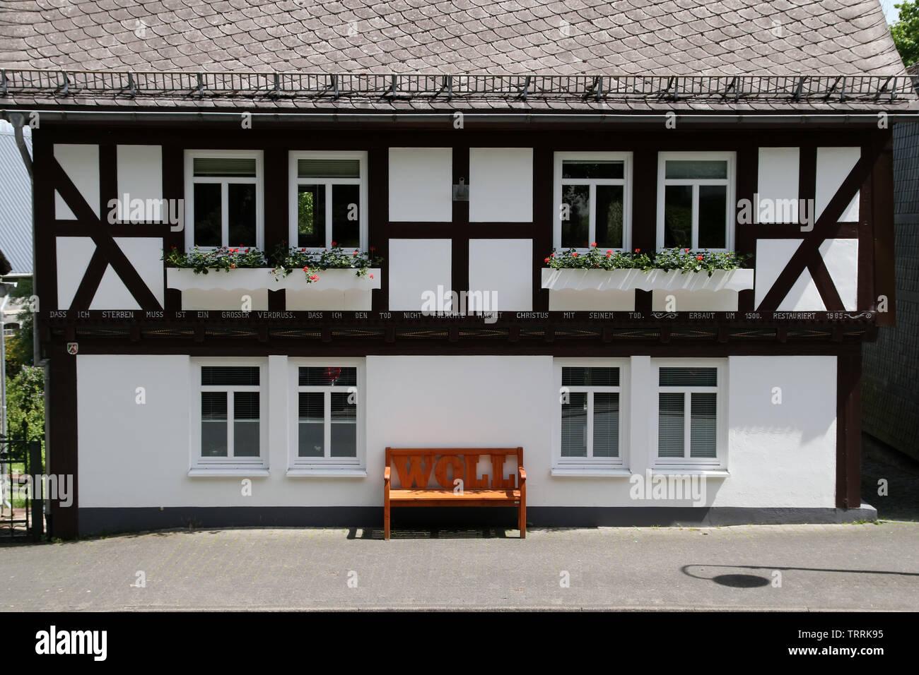 Sauerland, Dialekt, Fachwerk, Deutschland Germany - Stock Image