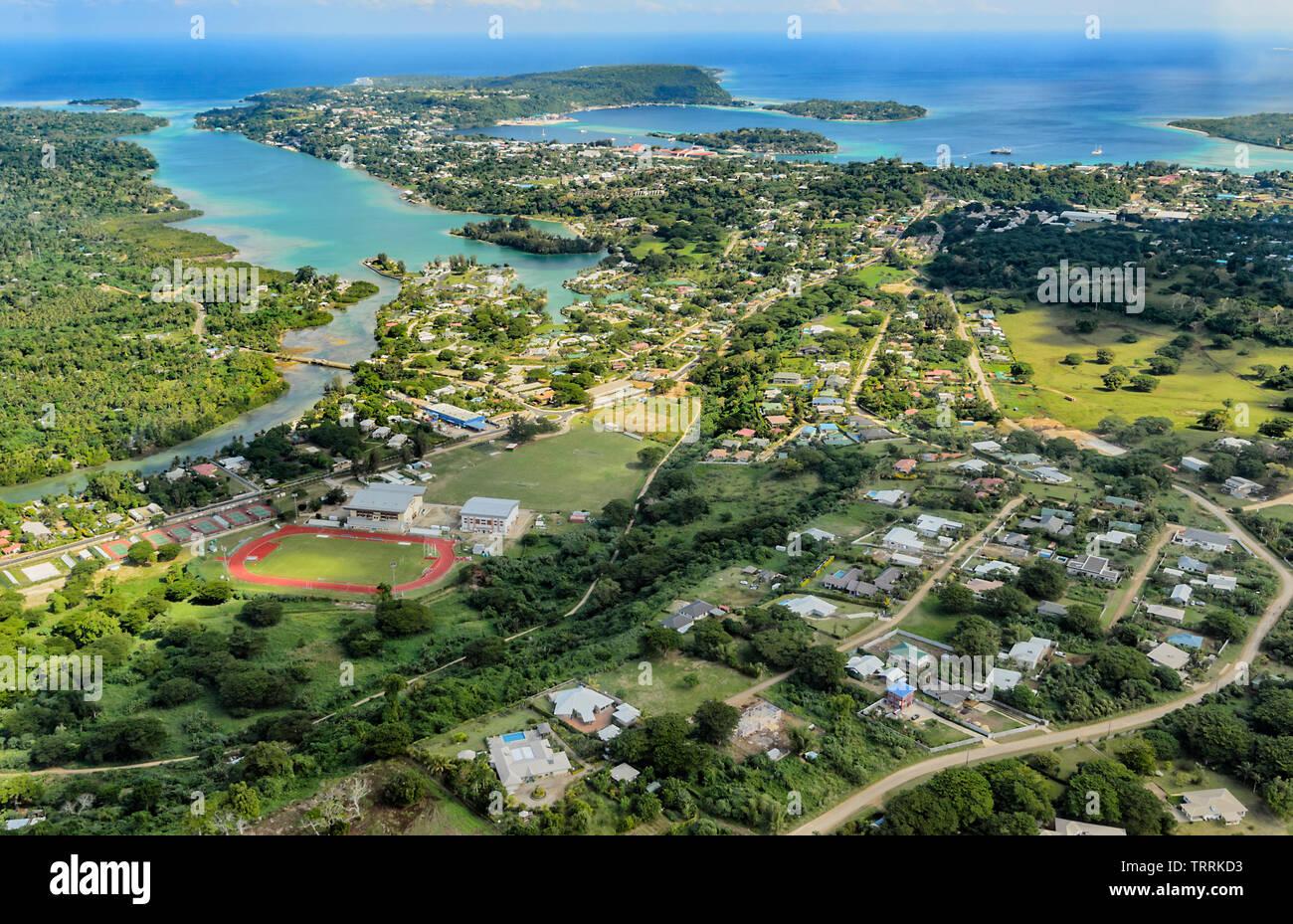 Scenic aerial view of Port Vila, Efate Island, Vanuatu, Melanesia - Stock Image