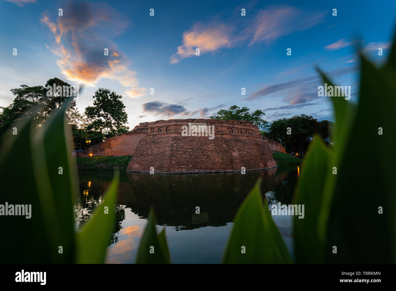 Chiang Mai ancient city wall and moats in sunset sky - Stock Image