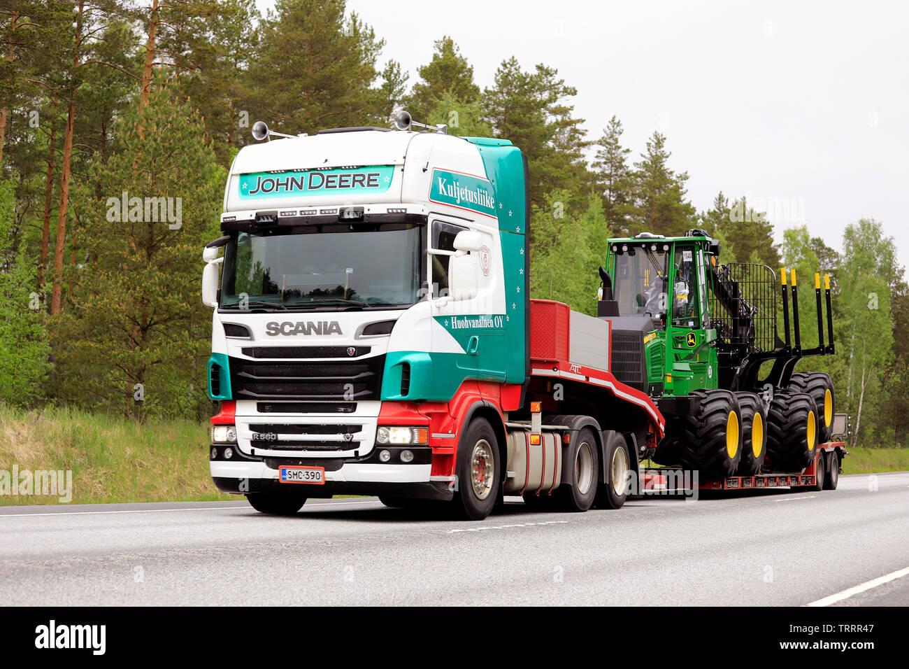 Raasepori, Finland  May 24, 2019  Colorful Scania R560 semi