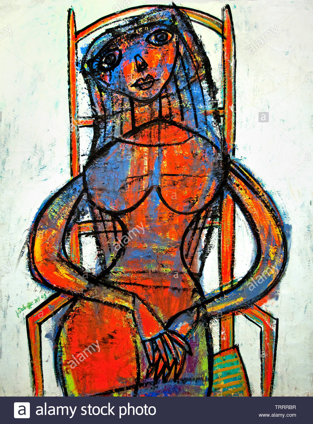 A Widow 1943 by Jean Philippe Arthur Dubuffet born France was a French painter and sculptor - Stock Image