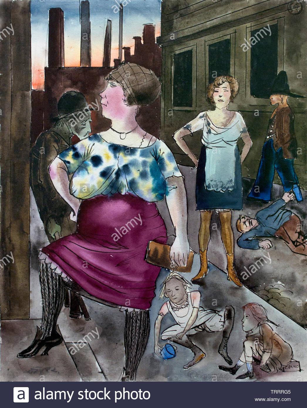 Suburb Scene 1922 by Otto Dix (Wilhelm Heinrich) born in1891 German painter (Neue Sachlichkeit) Germany - Stock Image