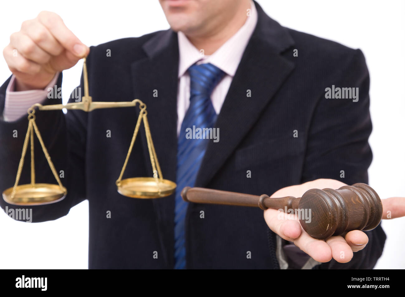 business and law concept with gavel and scales of justice - Stock Image