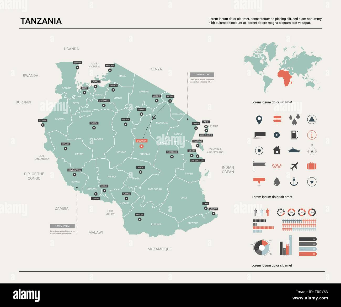 Picture of: Vector Map Of Tanzania Country Map With Division Cities And Capital Dodoma Political Map World Map Infographic Elements Stock Vector Image Art Alamy