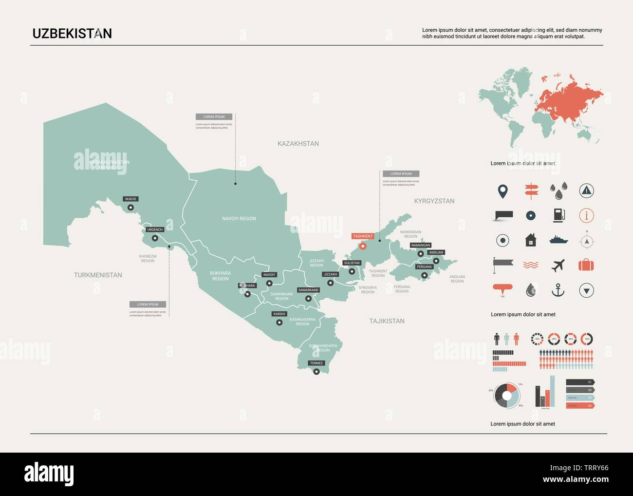 Image of: Vector Map Of Uzbekistan Country Map With Division Cities And Capital Tashkent Political Map World Map Infographic Elements Stock Vector Image Art Alamy