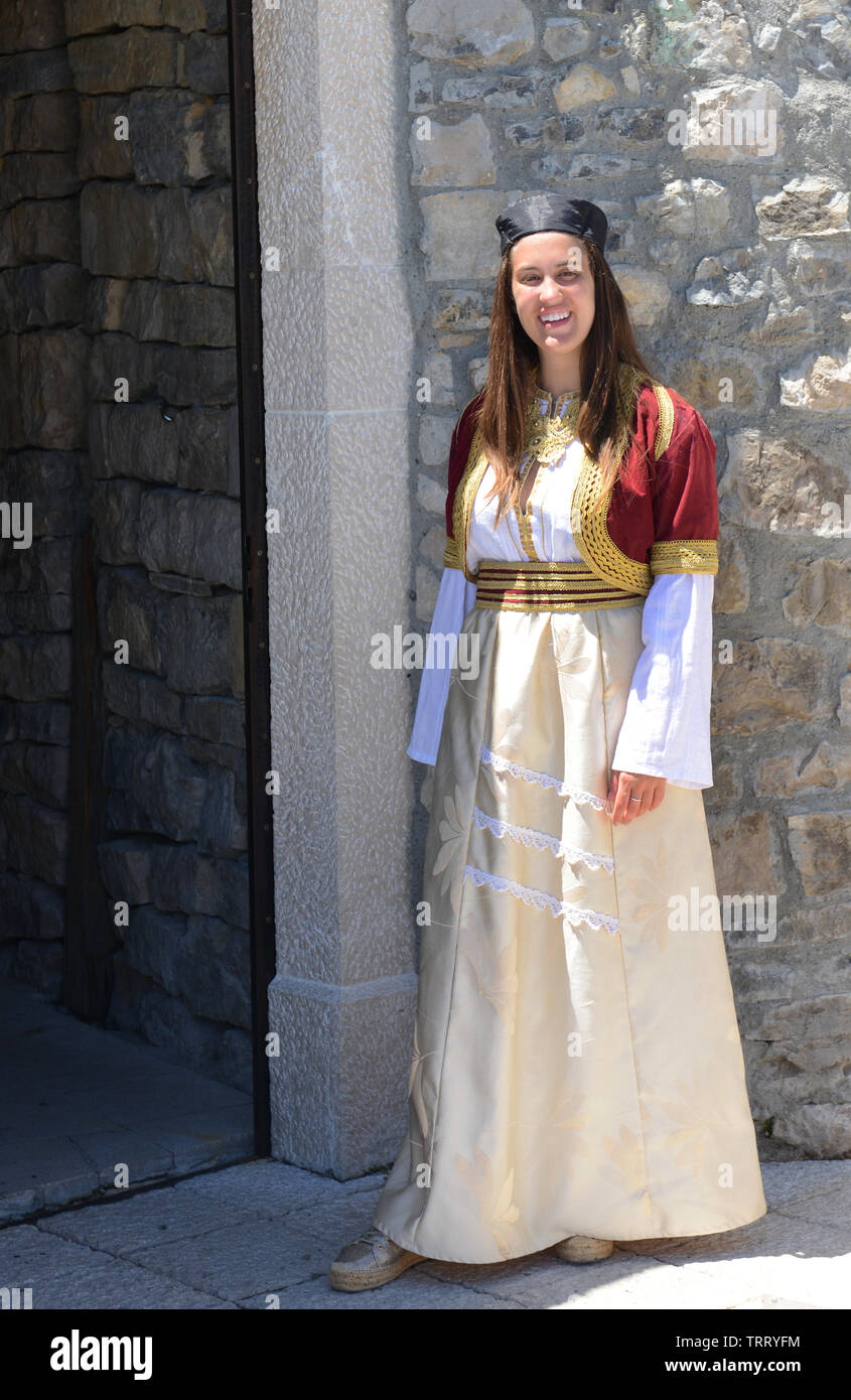 A Montenegrin woman dressed in traditional clothing. Stock Photo