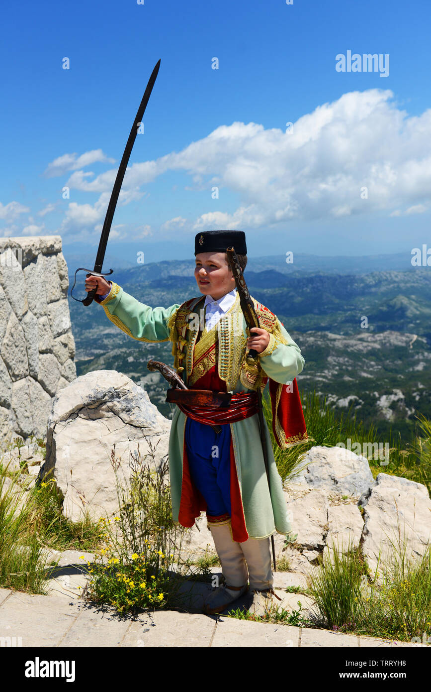 A Montenegrin boy dressed in traditional clothing. Stock Photo