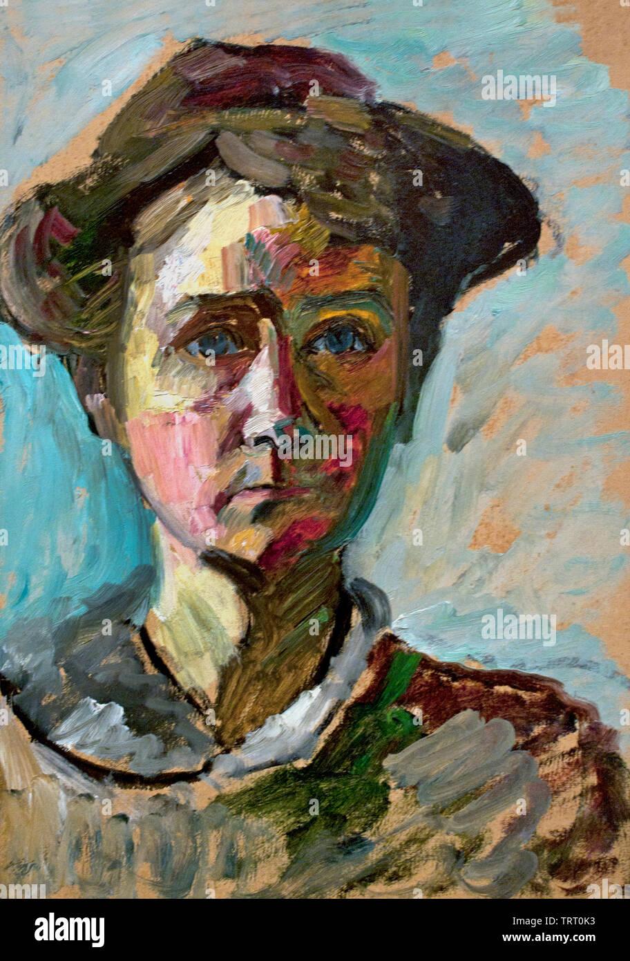 Self Portrait 1908 by Gabriele Muenter Born 1877 Berlin, Germany, German - Stock Image
